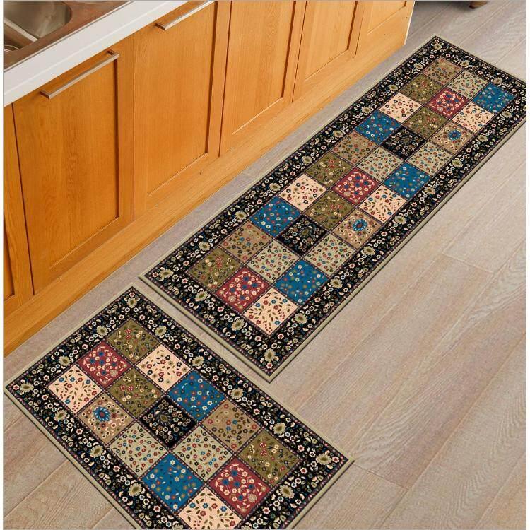 2PCS Classic Design Antislip Carpet (120cm x 40cm) Free (60 x 40cm) Soft Flannel Carpet Rug Floor Mat Kitchen and Bathroom - intl