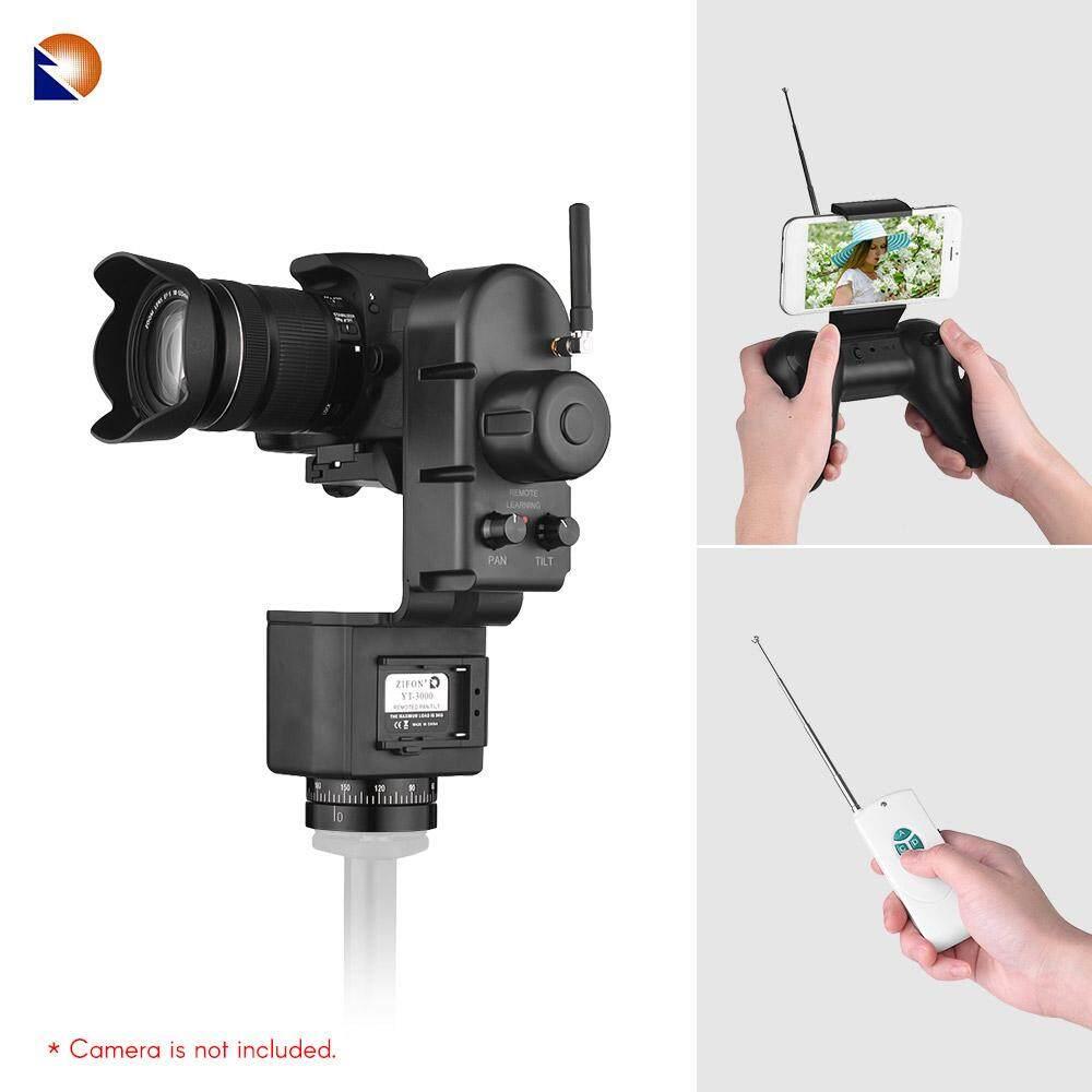 Zifon YT-3000 50 M Jarak Jauh Pengendali Elektronik Pan Miring Kepala Bermotor Panorama Tripod Kecepatan Kepala Dapat Disesuaikan 3Kg Payload untuk canon Nikon Sony DSLR Wifi Kamera Foto Video Shooting-Internasional