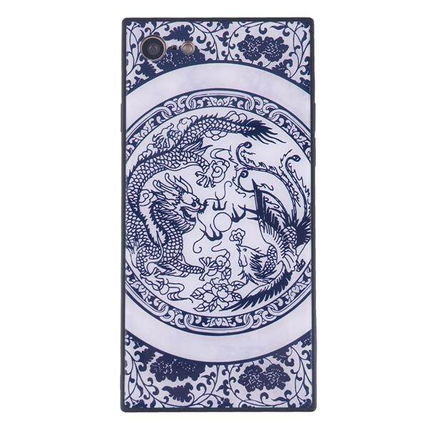 China Style Square Glass Phone Case Blue and White Porcelain Phone Shell for iPhone 7/8 (Dragon and Phoenix)