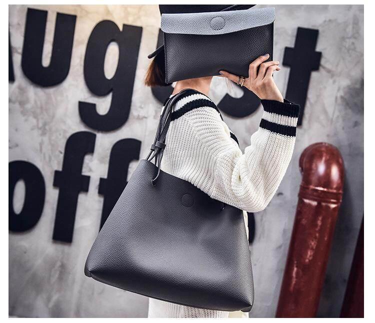 2 in 1 Value Set Tote Shoulder PU Leather Handbag Pouch Beg
