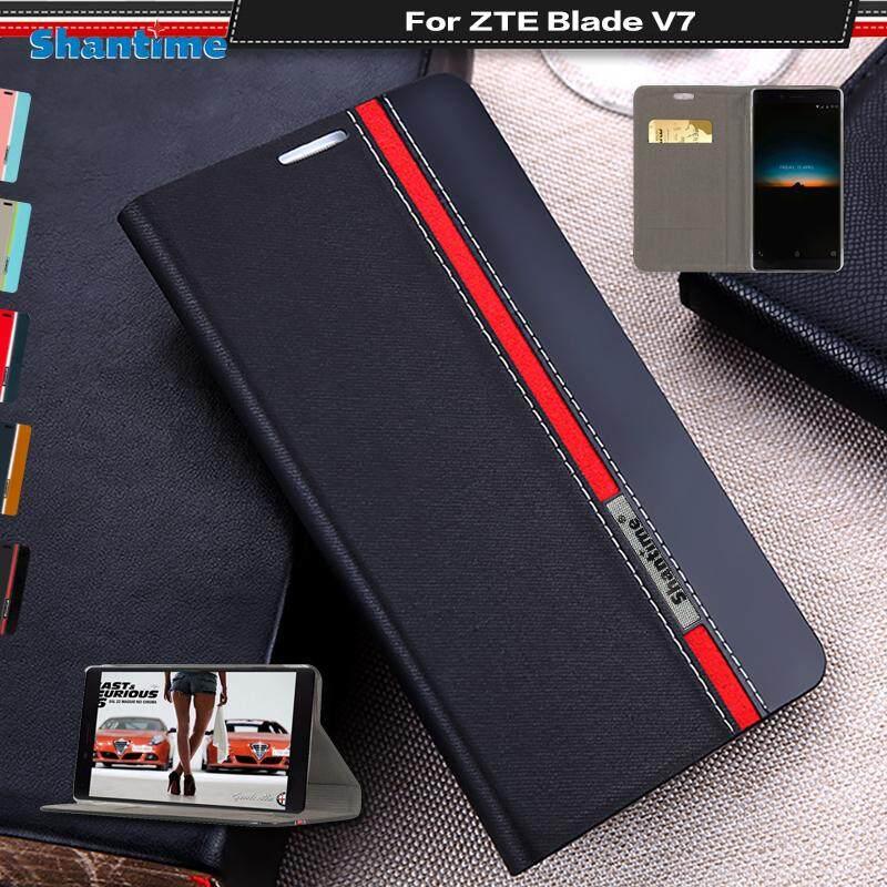 Lipat Telepon Case untuk ZTE Pedang V7 Antik Colour Stitching Kulit Case Buku Case untuk ZTE Pedang V7 Case dengan kartu Slot-Internasional