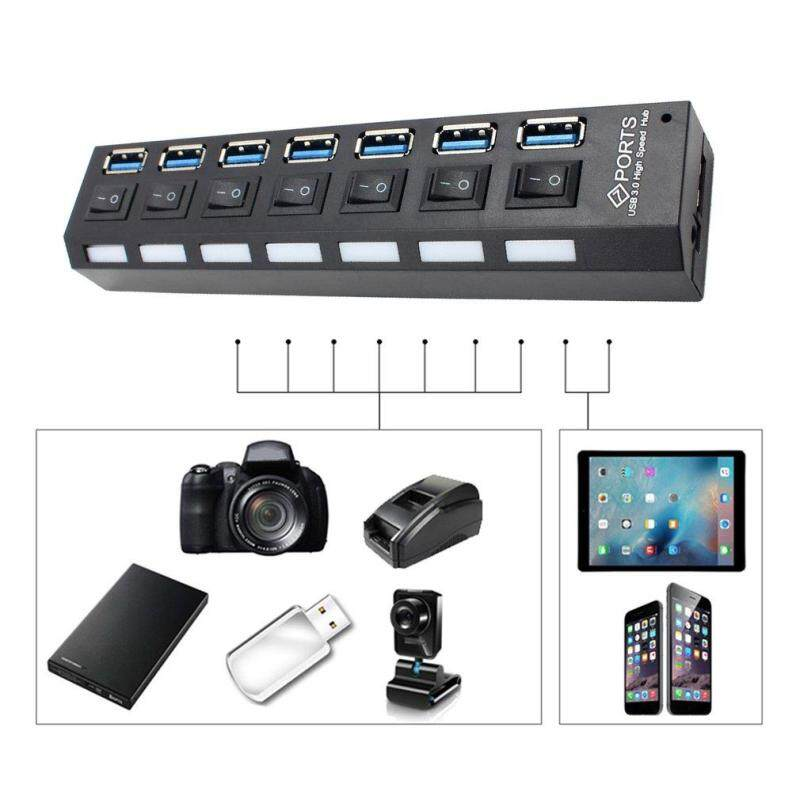 QNSTAR Compact USB 3.0 High Speed Hub with Separate 7-Ports with Power Supply Black