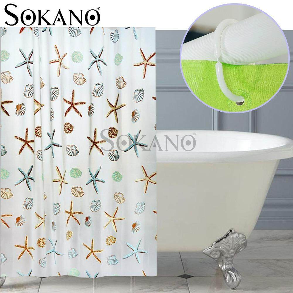 SOKANO CT021 Stylish Living Elegant 100% PEVA Bathroom Shower Curtain (180x200cm) - Sea star