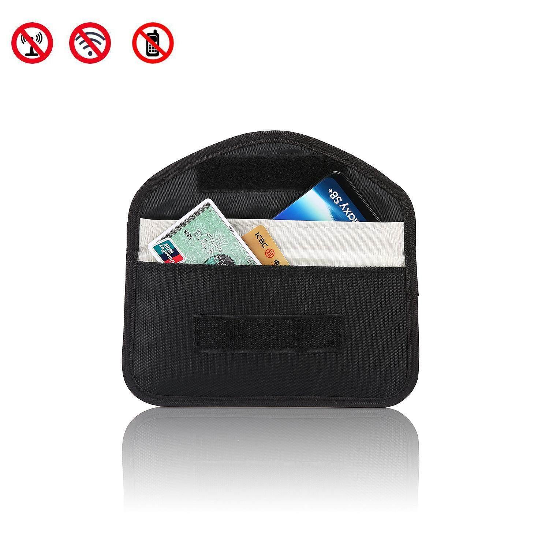 Hazobau RFID Sinyal Blocker, Lengan Kartu Kredit, Tanpa Kunci Masuk Fob Menjaga Pemblokiran Sinyal Kantung Tas, antitheft Perangkat Kunci, ponsel Perlindungan Keamanan WIFI/GSM/LTE/NFC/RF Blocke (Hitam)-Internasional