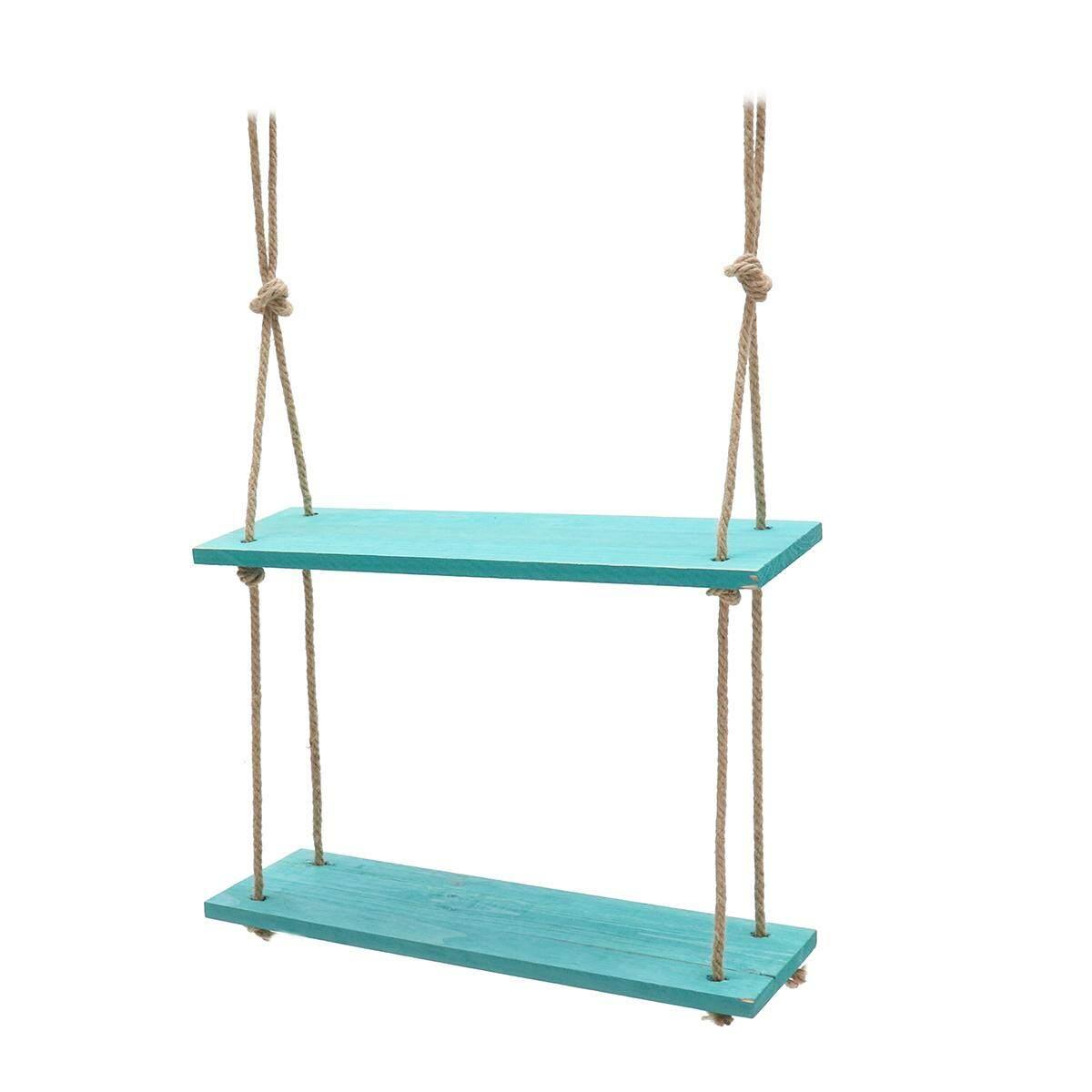 Solid Wood Wall Shelf Storage Floating Wall Shelf Rustic Vintage Rope Shelf Blue 2 Tiers - intl