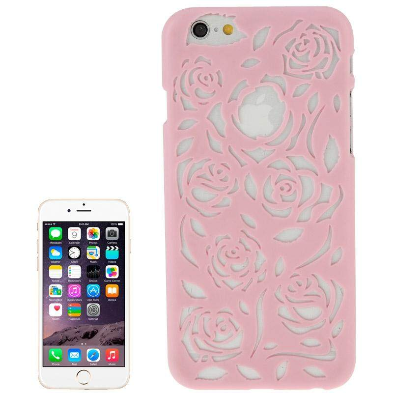 Berongga Keluar Mawar Bunga-bunga Pola Pelindung Keras Case untuk iPhone 6 Plus & 6 S Plus (Merah Muda) -Internasional