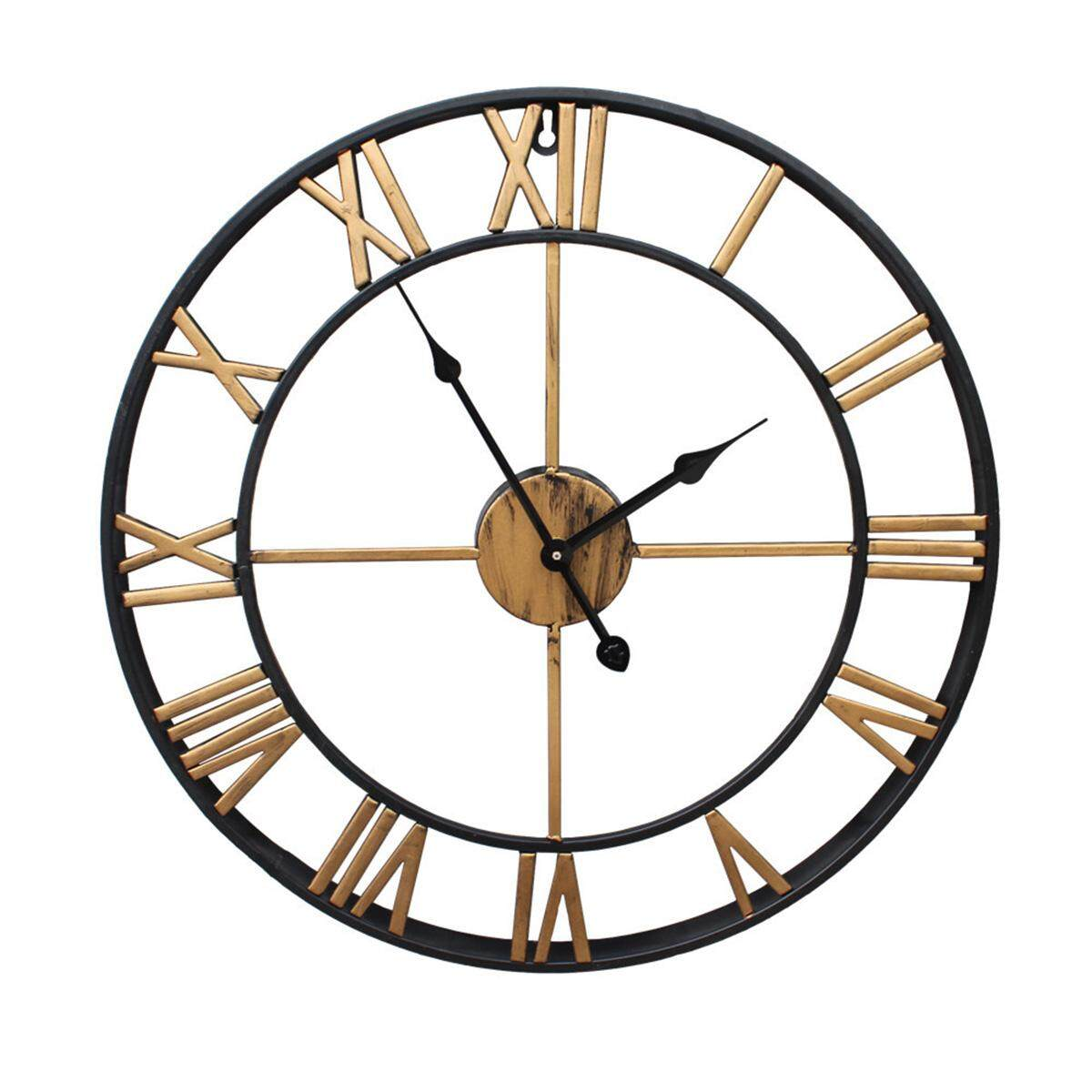 Outdoor Garden Large Wall Clock Big Roman Numerals Giant Open Face Metal Gold - intl