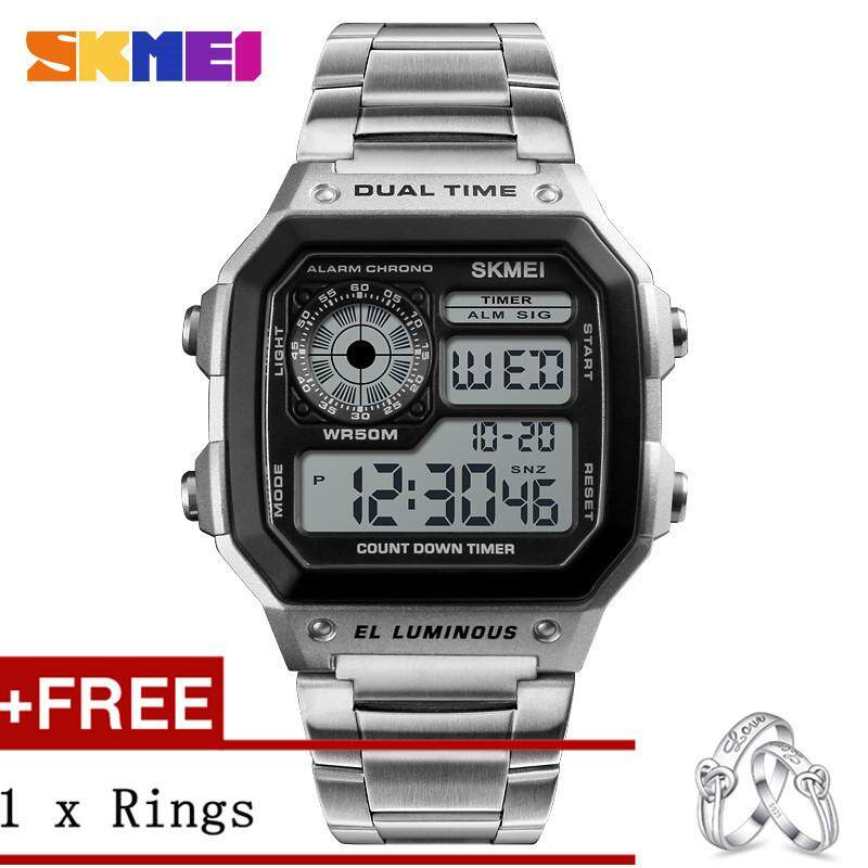 SKMEI Men Sports Watches Count Down Waterproof Watch Stainless Steel Fashion Digital WristWatches Male Clock 1335 + Free a Couple Rings