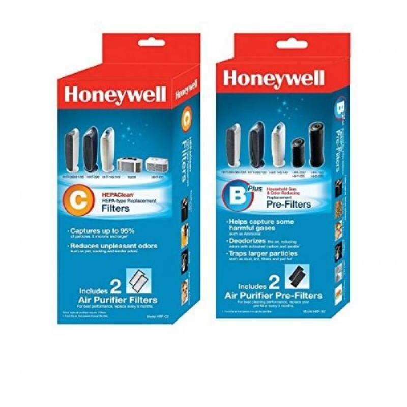 Honeywell HEPAClean Air Purifier Replacement Filter 2 Pack and Honeywell HRF-B2 Filter B Household Odor & Gas Reducing Pre-filter 2 Pack - intl Singapore