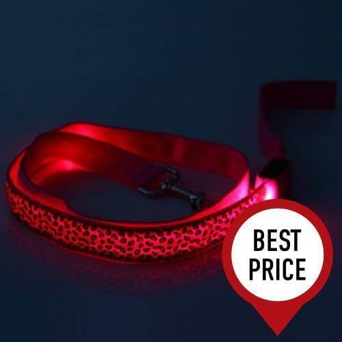 3 MODES LED PET LEASHES GLOWING LEOPARD PRINT DESIGN PUPPY TRACTION BELT (PINK)