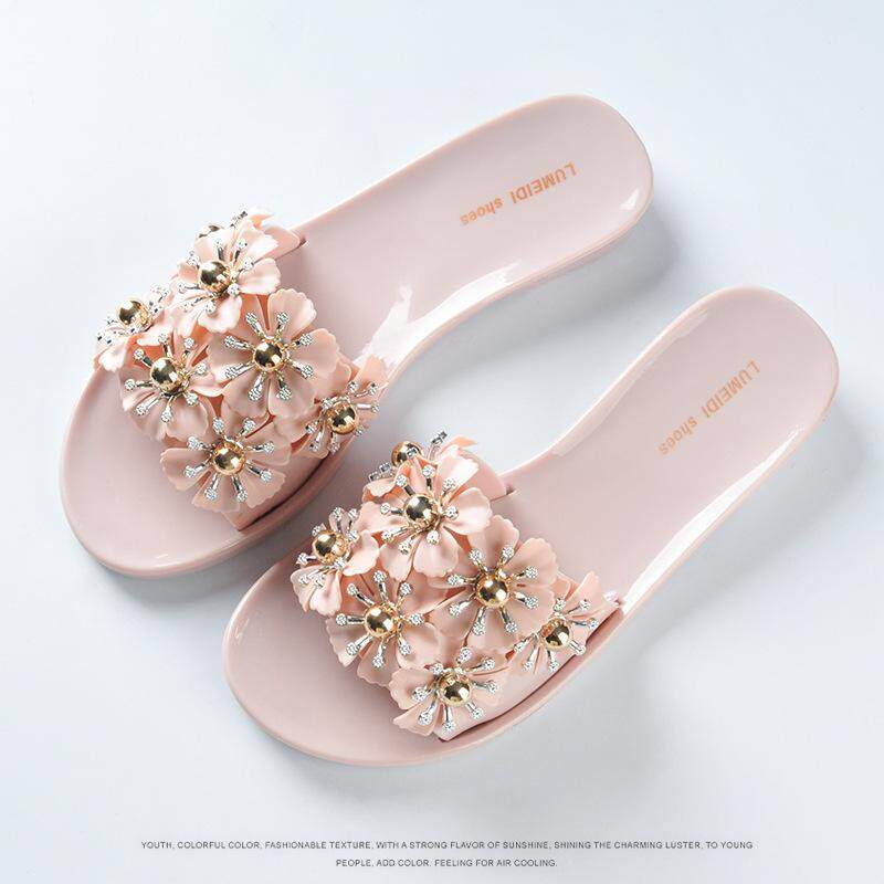dd120e97b 2018 Woman Summer Transparent Word Slippers Female Flower Crystal Plastic  Jelly Shoes Beach Sandals - intl