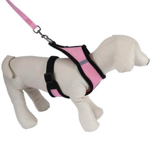 KIMPETS PET HARNESS LEASH SOFT MESH DOG CAT VEST (PINK)
