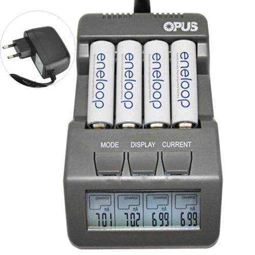 OPUS BT-C700 4 SLOTS INTELLIGENT AA AAA BATTERY CHARGER WITH LCD - EU PLUG (GRAY)