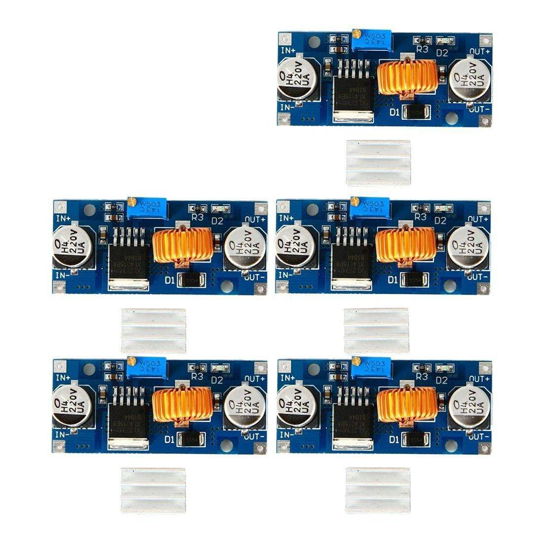 Features 5pcs Xl4005 Dsn5000 Beyond Lm2596 Dc Adjustable Step 5a Down 5pc Xl4015 Power Supply Module Led Charger