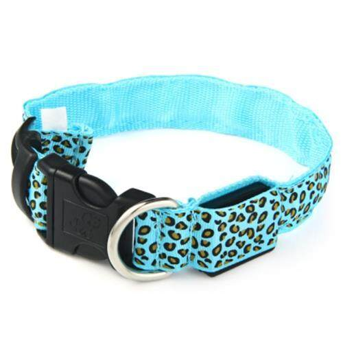 LEOPARD PRINT LED COLLAR LUMINOUS PUPPY NECKLACE PET DECORATIVE PROPS (BLUE)