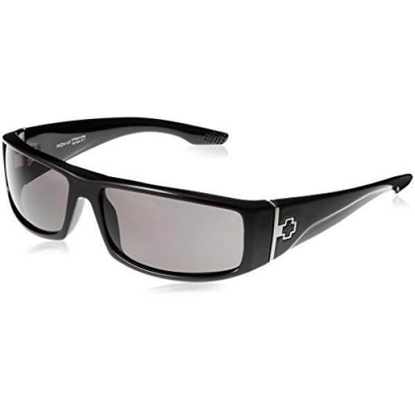 Spy Optic Cooper Terpolarisasi Bungkus Kacamata Hitam Bingkai Hitam Berkilau Warna Lensa, Satu Ukuran-Intl