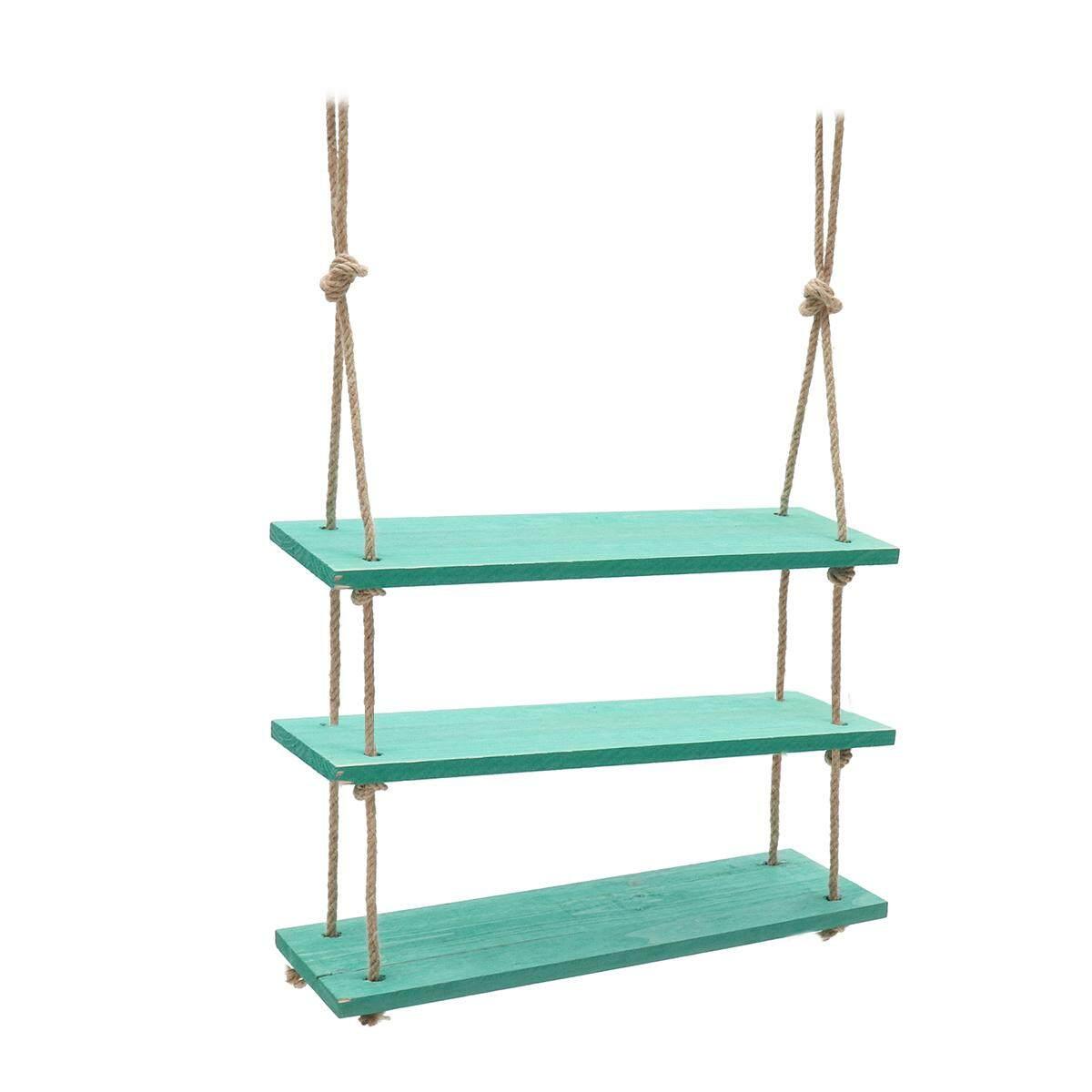 Solid Wood Wall Shelf Storage Floating Wall Shelf Rustic Vintage Rope Shelf Green 3 Tiers - intl