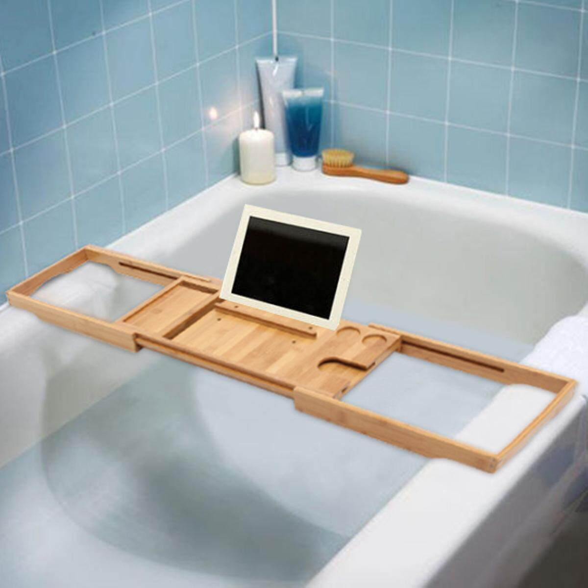 Features Bathtub Caddy Bamboo Bath Tub Rack Tray Bathroom Cloth Book ...