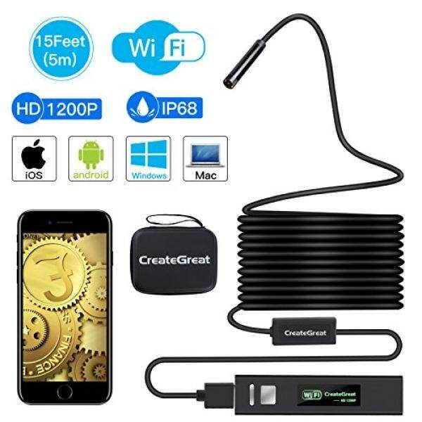 Endoskopi Nirkabel, creategreat Wifi Borescope Inspeksi Kamera 2.0 Juta Piksel 1200 P HD Ular Kamera dengan 8 Pcs Dapat Disesuaikan LED Inspeksi untuk Android dan IOS Smartphone, iPhone, Samsung, Macbook (15FT)-Internasional