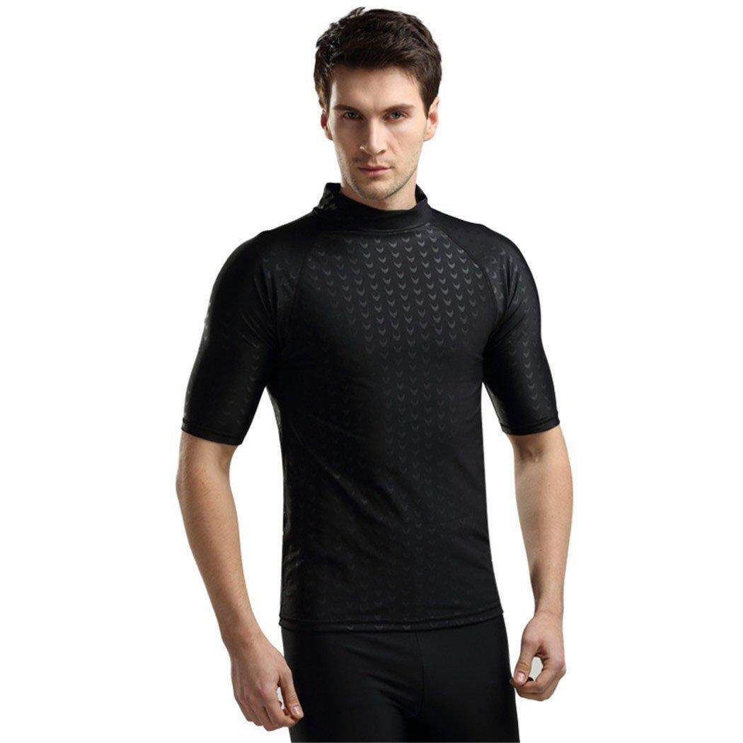 Sbart Men s Short Sleeve Rash Guard Swimming Shirt Sun Protection Sharkskin  T-shirt Surfing Diving e51e90148