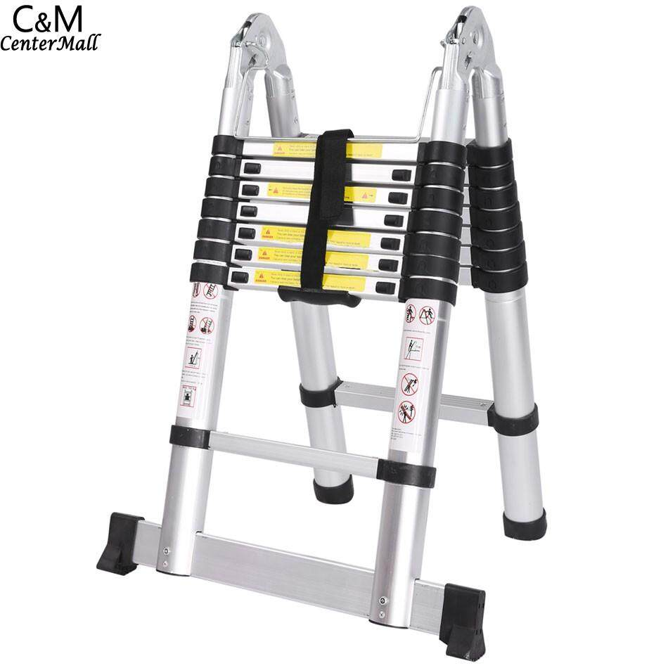 5M 16 steps Multipurpose Aluminum Alloy Double Ladder Telescopic Style Folding Extenable Ladder - intl