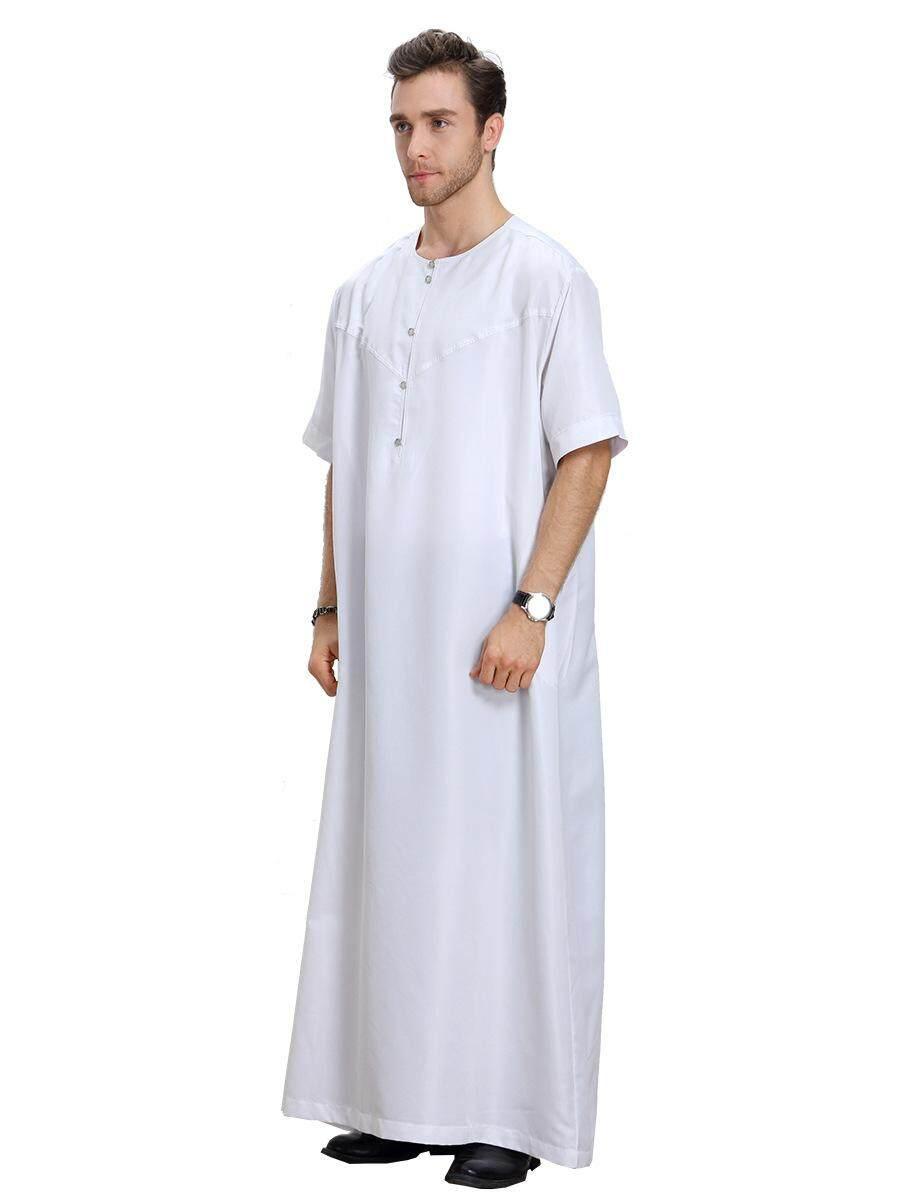 Men's Round Neck Half Sleeve Solid Saudi Arab Thobe Islamic Muslim Dubai Robe - intl