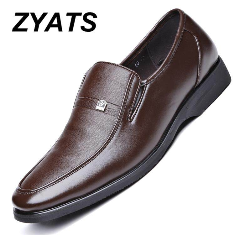 ZYATS Fashion 2018 Oxfords Business Casual Leather Shoes Formal Office Shoes for Men Slip-on & Pull-on Genuine Leather Shoes Large size 38-45
