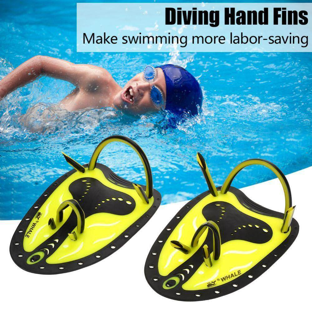 Whale Swimming Diving Hand Fins Paddles Webbed Training Fin Scuba Equipment (yellow M) - Intl By Highfly.
