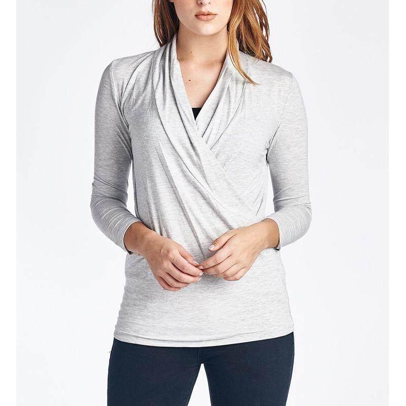Vonda แฟชั่นการตั้งครรภ์แขนยาวนุ่มถัก Maternity เสื้อยืดเสื้อให้นมบุตรชุดคลุมท้องขนาด M-5xl Light สีเทา - Intl.