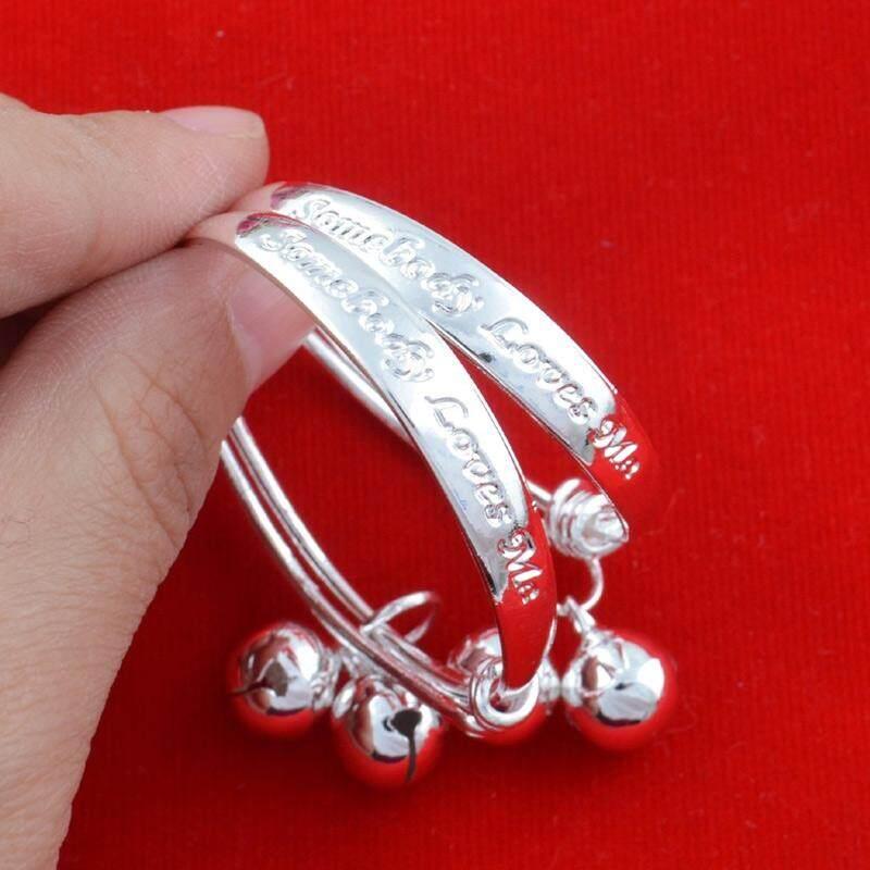 PALIGHT 2 Pcs Gelang Bayi Balita Dapat Disesuaikan 925 Sterling Perak Modis Perhiasan-Internasional