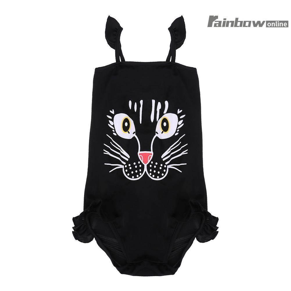 ฤดูร้อนการ์ตูน Cat One - Piece ชุดว่ายน้ำชุดว่ายน้ำด้านข้างหญิงชุดว่ายน้ำเด็กทารก (สีดำ) - Int: L - Intl.