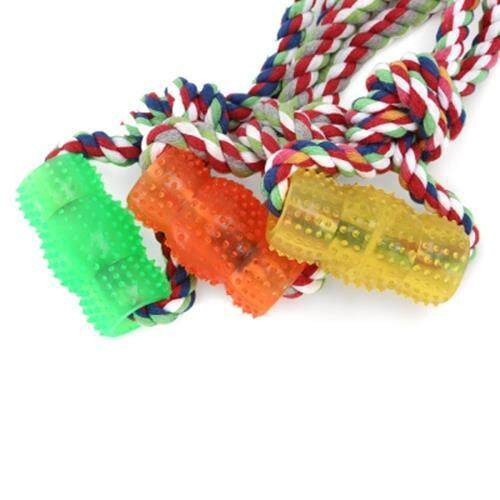 RUBBER PET DOG TOY WITH ROPE HANDLE CHEW TRAINING PLAY TOOL TEETH CLEANING (YELLOW)
