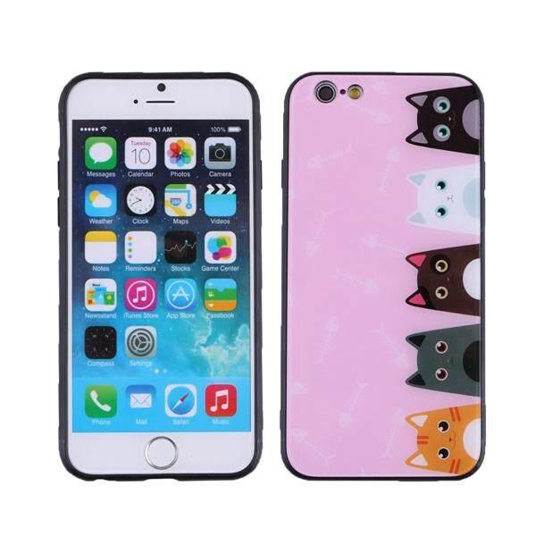 Lucu Hewan Peliharaan Casing Ponsel Komik Lima Kucing Matte Hard Shockproof Anti Gores Cangkang Pelindung Ponsel Cover untuk iPhone 6 S (Berwarna Merah Muda)