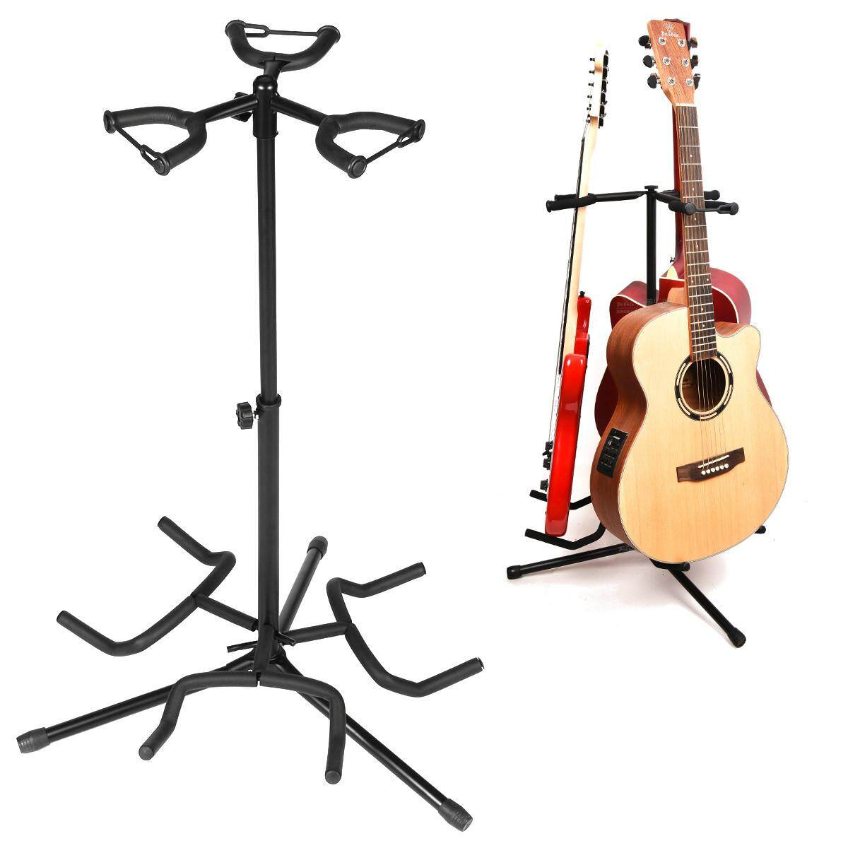 3 Multi Instrument Acoustic Electric Bass Guitar Iron Stand Storage Rack With Cotton Protection Head -