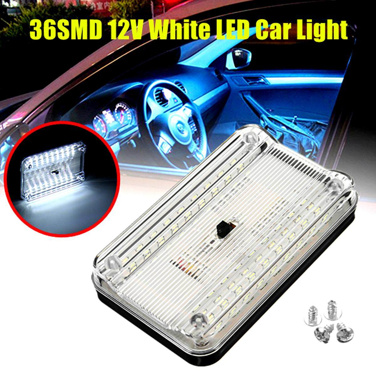 36SMD 12V White LED Car Light Source Interior Lights Ceiling Dome Roof Reading Lights Lamp On/Off Switch