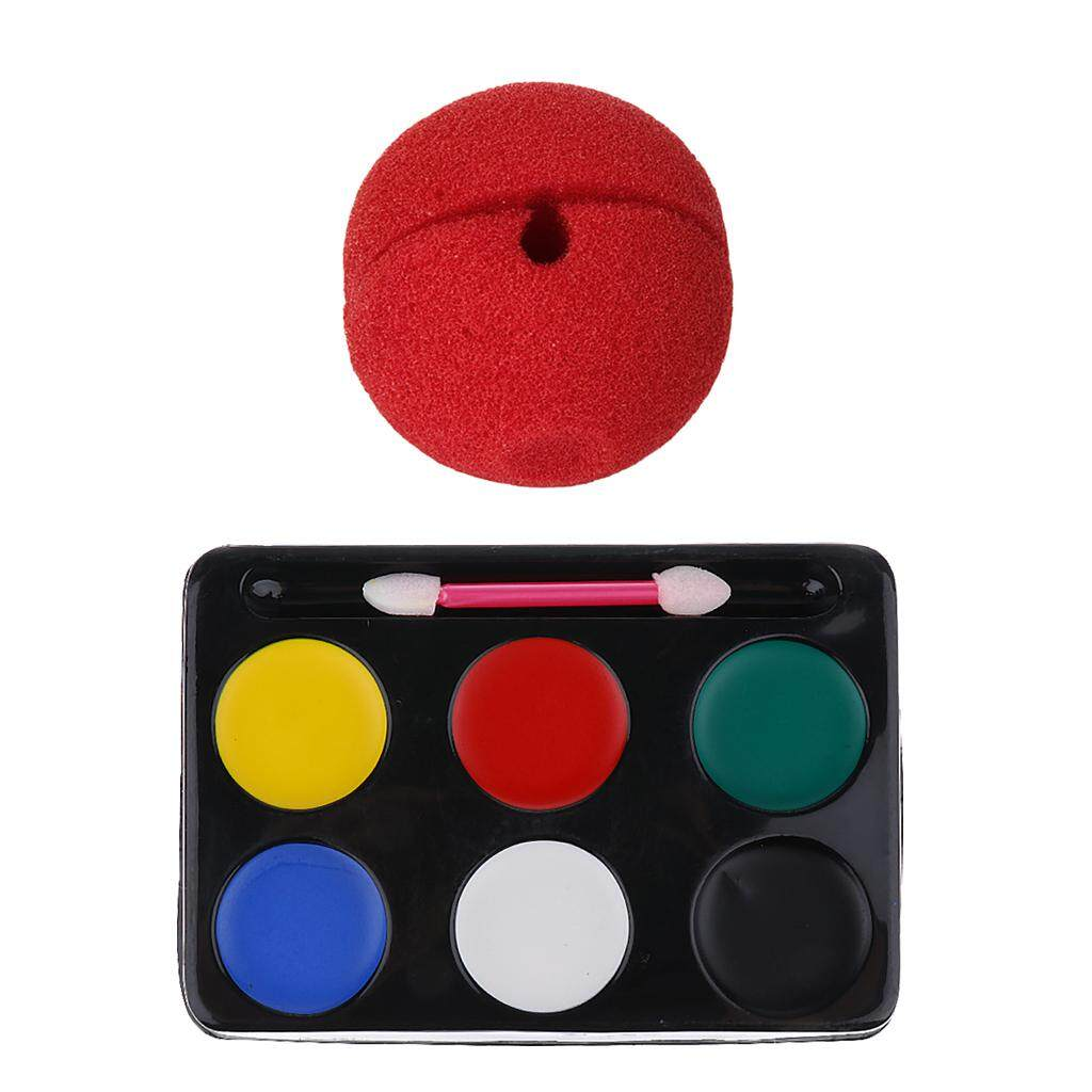 MagiDeal Red Sponge Clown Nose 6 Colours Make Up Face Paint Palette Party Fancy Dress -