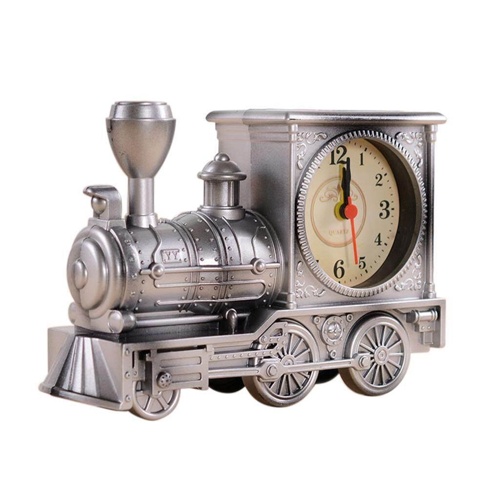 goplm Cartoon Locomotive Train Alarm Clock Antique Engine Designtable Desk Decor