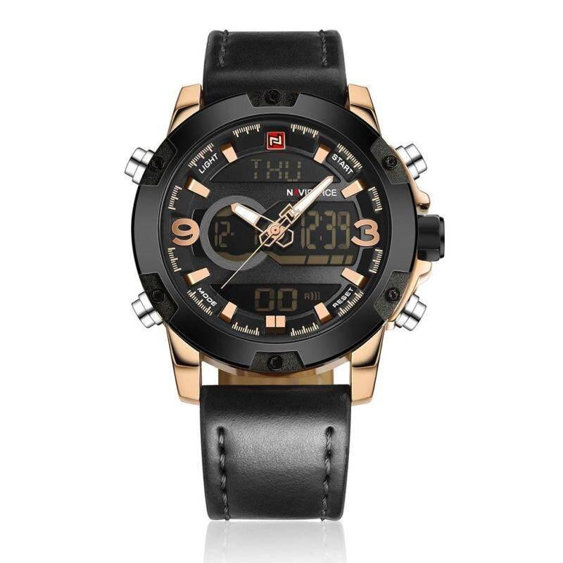 NAVIFORCE 9096 Men 3ATM Waterproof Wrist Watch Electronic Digital Needle Watch Black Malaysia