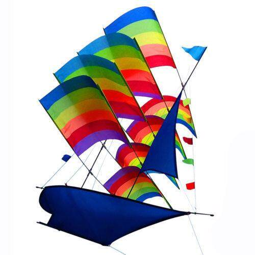 Huge 3d Rainbow Sailboat Flying Kite Outdoor Sports Children Kids Game Activity By Ferry.