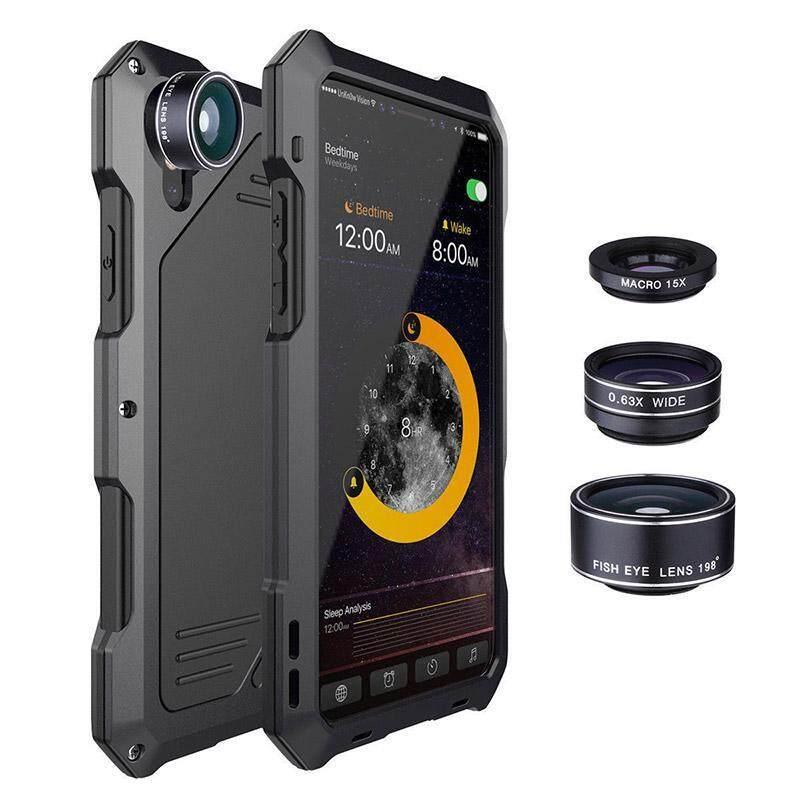 Giá Chống nước Chống Sốc Kim Loại Ốp Lưng Ốp Lưng với 3 Ống Kính Máy Ảnh cho iPhone X 7/8 7/8 Plus Mô Hình: ốp lưng iphone X-quốc tế