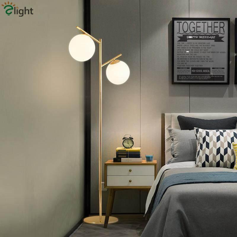 Lustre Electroplate Gold E27 Led Floor Lamp 2 Light Globe Floor Lamp For Bedroom Indoor Lighting Lamparas For Foyer - intl