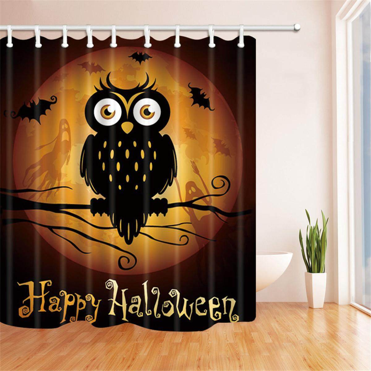 Halloween Pumpkin Shower Curtain +12 Hooks Waterproof Bathroom Decor 71 X 71inch By Glimmer.