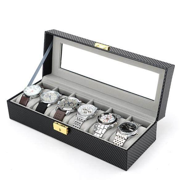 6 Slot Carbon Fiber Inner Gray Watch Display Storage Box (Starzdeals.my)