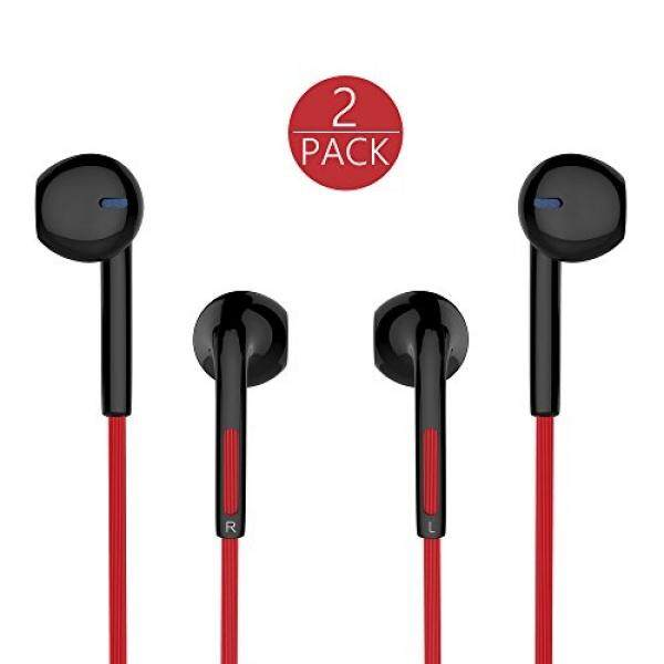 TOBETB 2 Packs Earbuds Stereo Headphones with Microphone 3.5mm earbuds for iPhone Samsung Galaxy and Android Compatible Black+Red - intl