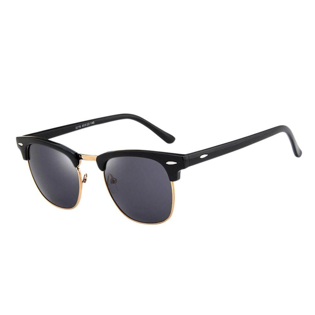 Dsstyles Retro Modis Setengah Bingkai HD Cermin Lensa Antik Kacamata Hitam untuk Pria Wanita Warna Lensa: cerah Hitam dan Abu-abu Spesifikasi: 3016-Internasional