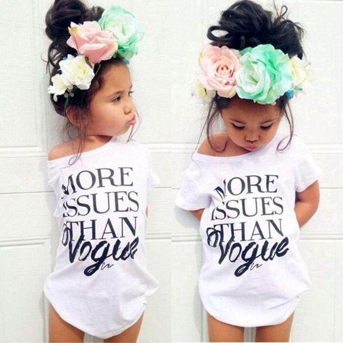 2018 Mode Terkini Baju Lengan Pendek Katun Putih Hitam 2 Warna Anak Kaos Atasan