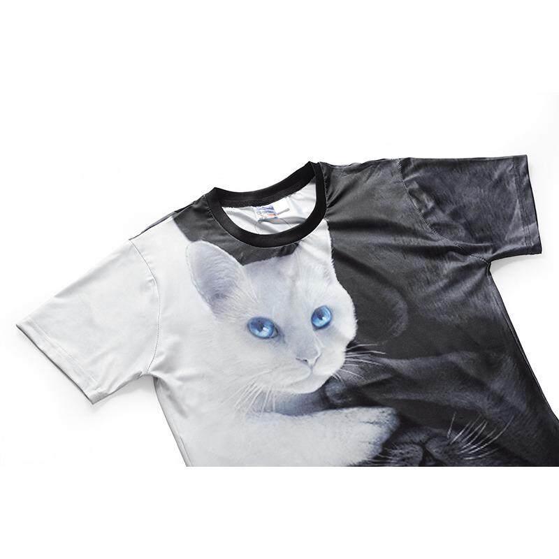 Detail Gambar 2018 Musim Panas Kasual Kualitas Tinggi Kucing Gambar 3D Kaus S-3XL Pria Kaus-Internasional Terbaru