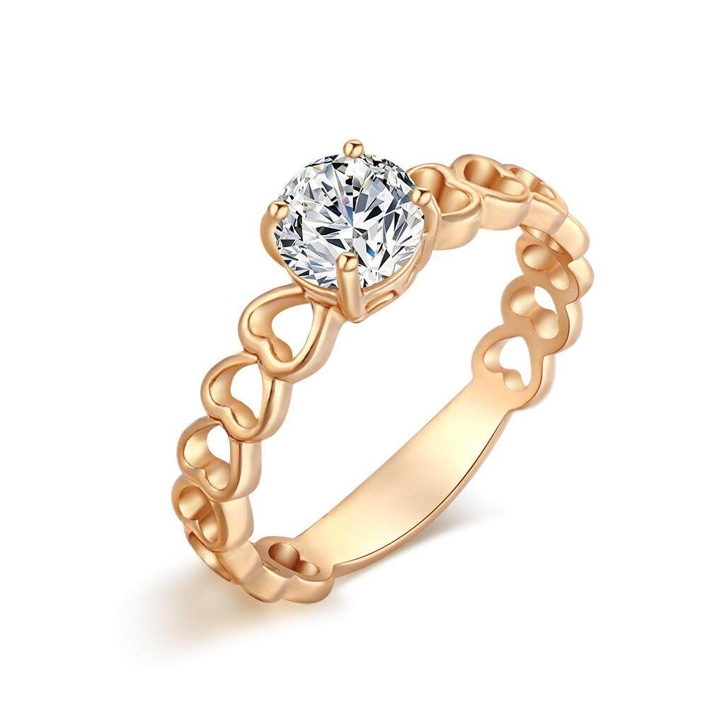 Elechome Hot Sell Delicate Gold Platinum Plating Zircon Ring Heart Shaped