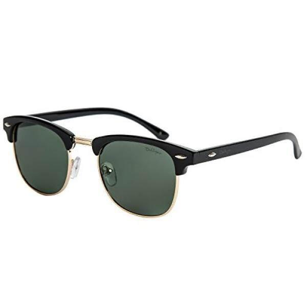 Dollger Dollger Pria Retro Klasik Kacamata Hitam Terpolarisasi Setengah Bingkai Tanduk Kacamata Berbingkai (Crystal Hijau