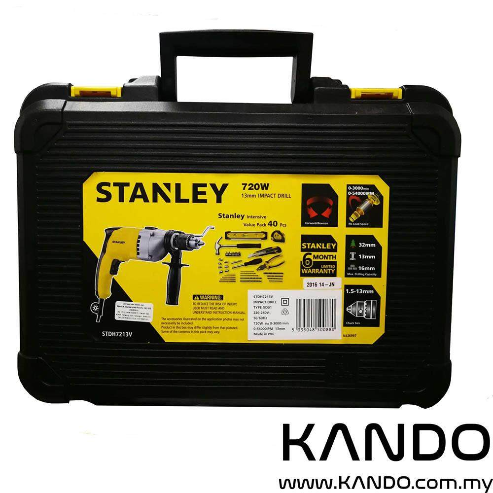 STANLEY STDH7213V 13MM 720W PERCUSSION DRILL VALUE KIT IMPACT DRILL BIT SET PACK 40 PIECES WITH STORAGE BOX CASE